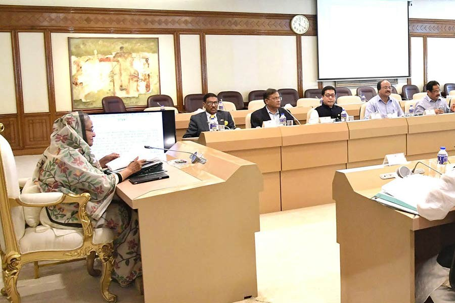 Prime Minister Sheikh Hasina presiding over the meeting of National Implementation Committee for Administrative Reform (NICAR) at her office on Monday. -Focus Bangla Photo