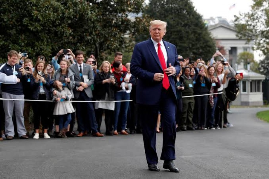 US President Donald Trump departs for travel to South Carolina, at the South Lawn of the White House in Washington, October 25, 2019. Reuters/File Photo
