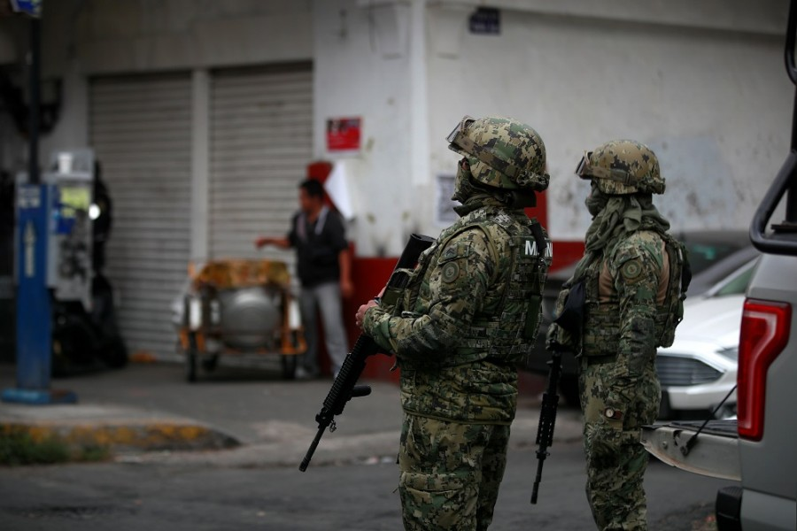 Mexican Marines keep watch during a raid on a warren of clandestine tunnels and alleged drug laboratories at Tepito neighbourhood in downtown Mexico City, Mexico October 22, 2019. — Reuters photo