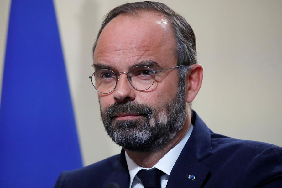 French Prime Minister Edouard Philippe addressing a news conference on immigration at the Hotel Matignon in Paris on Wednesday. -Reuters Photo