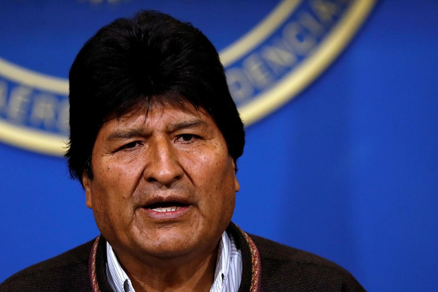 Bolivia's President Evo Morales addresses the media at the presidential hangar in the Bolivian Air Force terminal in El Alto, Bolivia on November 10, 2019 — Reuters photo
