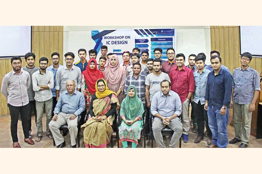 The participants of the workshop on integrated circuit (IC) design arranged by Ulkasemi Private Limited in collaboration with East West University