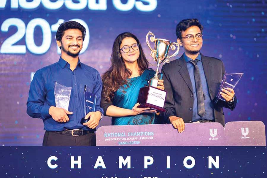 The members of the winning team from BUP— Team Nox— (from left to right) Shoaib Hussain, Anika Rahman, and Labib Ahsan Rhythm