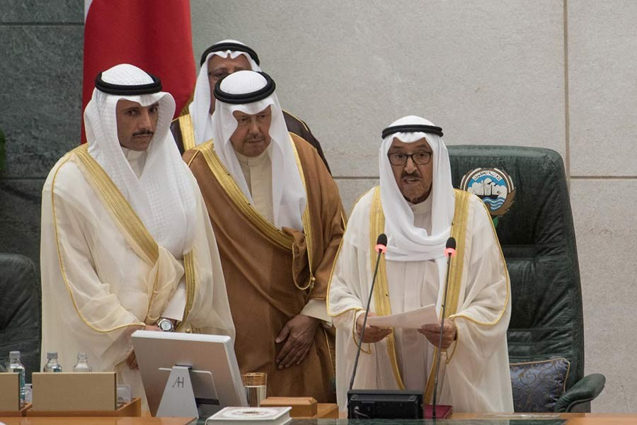 Kuwait's Emir Sheikh Sabah al Ahmad al Sabah reading his opening speech at the start of the 4th ordinary session of the 15th Legislative Parliament in Kuwait city last month. -Reuters file photo
