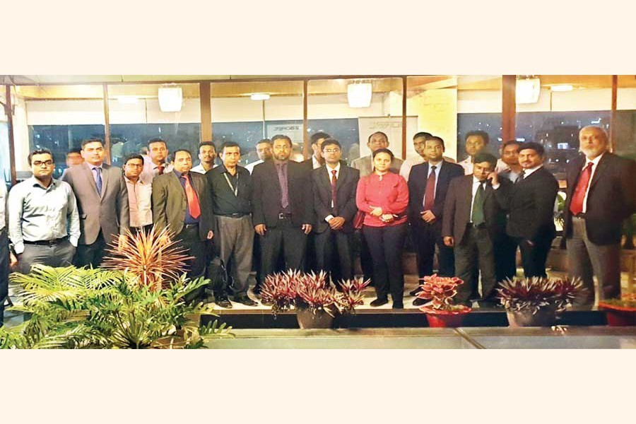 Senior executives of The Bangladesh Rating Agency Limited (BDRAL) and Dun & Bradstreet South Asia Middle East Limited posing with local bankers during a discussion meeting on the 'Credibility of SME Ratings in Bangladesh' at a local hotel recently. Sayed Javed Ahmad, CEO of BDRAL, presided over the meeting