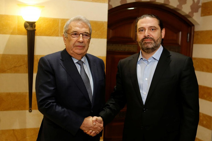 Samir Khatib (right), who withdrew his candidacy to lead a government, meets with Lebanon's caretaker Prime Minister Saad al-Hariri in Beirut Lebanon on December 8, 2019 — Reuters photo