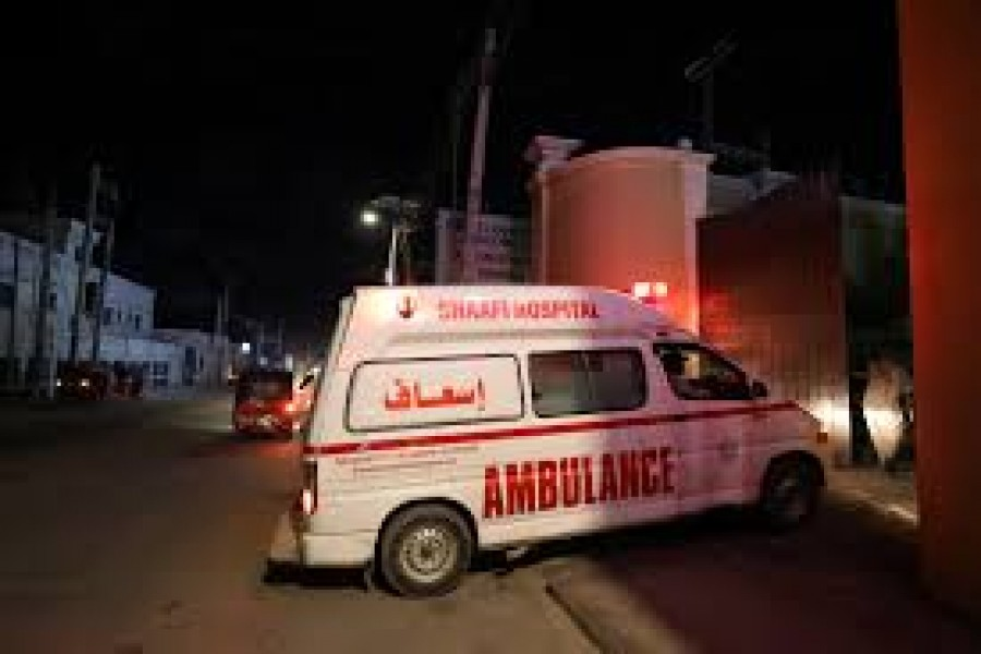 An ambulance carrying an injured person from an attack by Al Shabaab gunmen on a hotel near the presidential residence arrives to the Shaafi hospital in Mogadishu, Somalia December 10, 2019. REUTERS/Feisal Omar