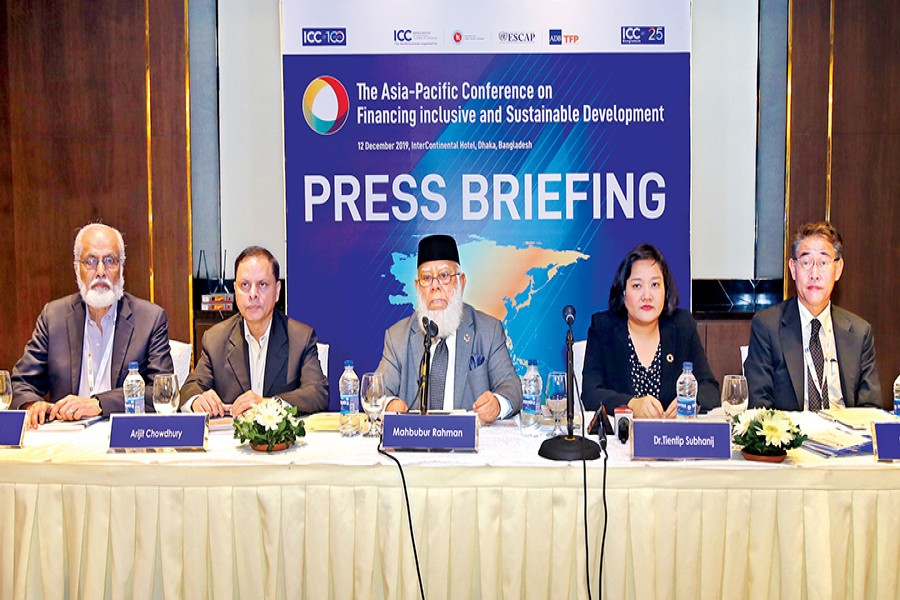 ICC Bangladesh President Mahbubur Rahman (centre) addressing a press briefing following the conclusion of the three-day 'Asia-Pacific Conference on Financing Inclusive and Sustainable Development' on Thursday. Others at the briefing from left are: Ataur Rahman, Secretary General, ICC Bangladesh; Arijit Chowdhury, Additional Secretary, Financial Institutions Division (FID), Ministry of Finance; Dr Tientip Subhanij, Chief, Financing for Development, ESCAP; and Dr Masato Abe, Economic Affairs Officer, Macro Economic Policy and Financing for Development Division, ESCAP