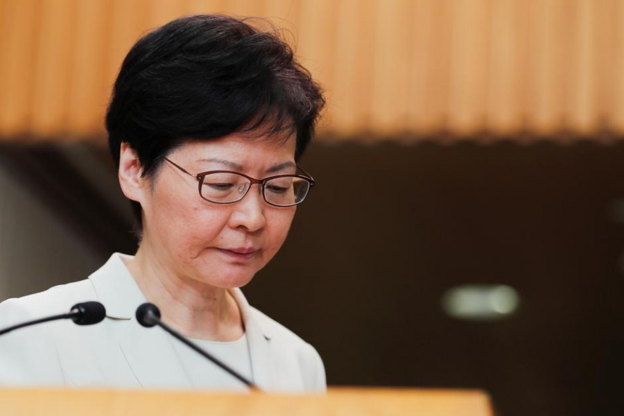 Hong Kong's Chief Executive Carrie Lam reacts at the end of a news conference in Hong Kong, China September 5, 2019. REUTERS/Amr Abdallah Dalsh