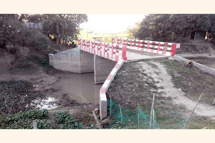 A newly-constructed bridge over a canal under Shulla upazila of Sunamganj district which does not have any connecting roads— FE photo