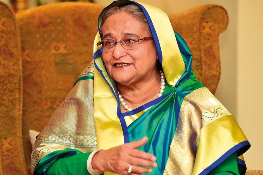 Prime Minister Sheikh Hasina during an interview with UAE-based Gulf News
