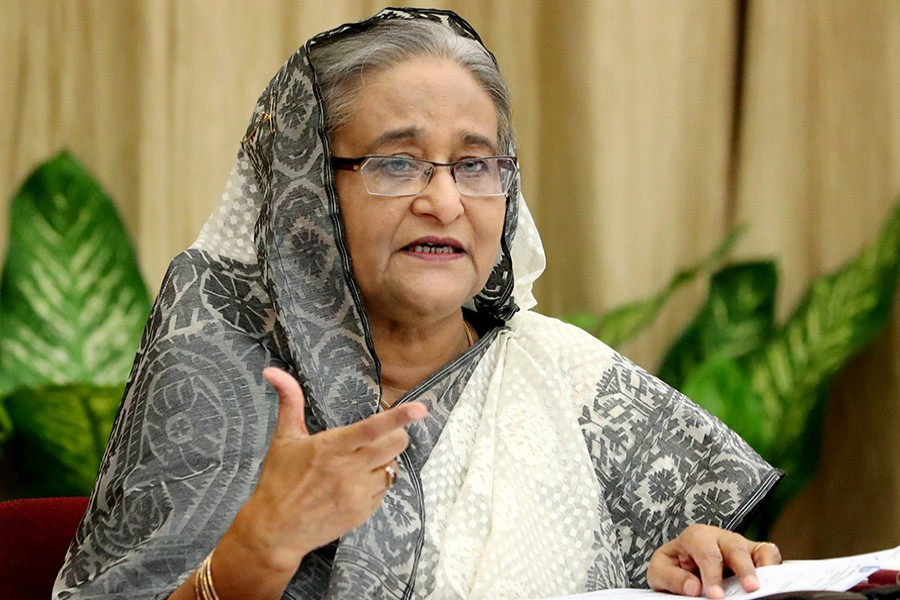 Prime Minister Sheikh Hasina seen in this undated Focus Bangla photo