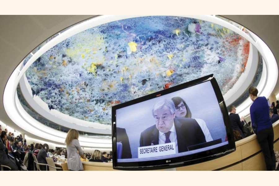 """UN Secretary-General Antonio Guterres addresses the opening of the High-Level Segment of the 43rd session of the Human Rights Council, in Geneva, Switzerland on February 24, 2020: he issued a """"call to action"""" to countries, businesses and all people to help renew and revive human rights across the globe, laying out a seven-point plan amid concerns about climate change, conflict and repression.   —Photo. AP"""