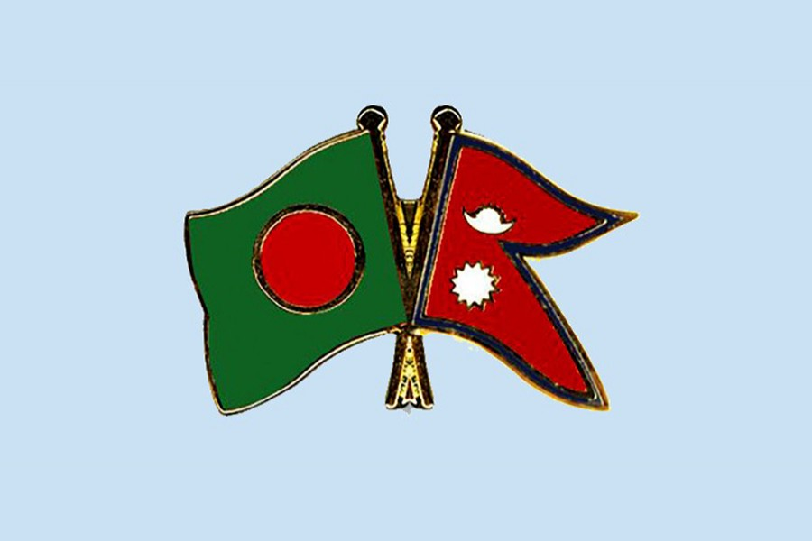 Flags of Bangladesh and Nepal are seen cross-pinned in this photo symbolising friendship between the two nations
