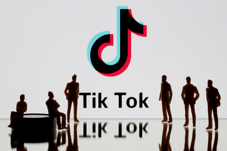 A 3-D printed figures are seen in front of displayed TikTok logo in this picture illustration taken on November 7, 2019 — Reuters/Files
