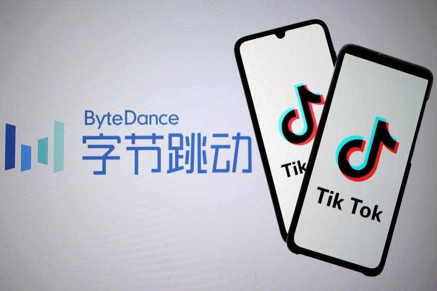 Tik Tok logos are seen on smartphones in front of a displayed ByteDance logo in this illustration taken November 27, 2019 — Reuters/Files