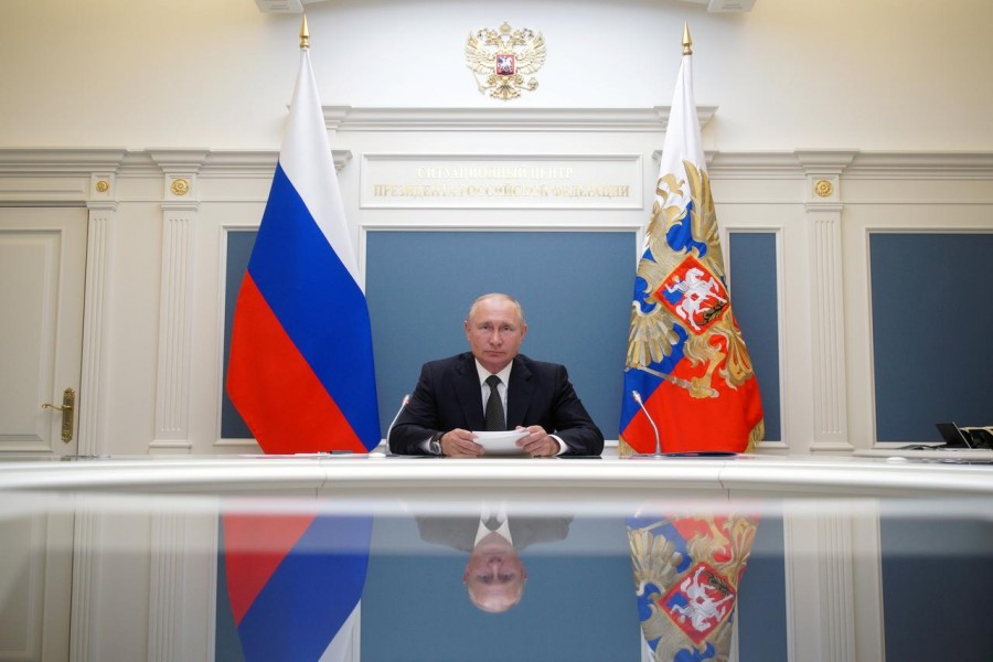 Russian President Vladimir Putin takes part in a video conference call, dedicated to the opening of new military medical centres for patients infected with the coronavirus disease (Covid-19), in Moscow, Russia on June 30, 2020 — Reuters/Files