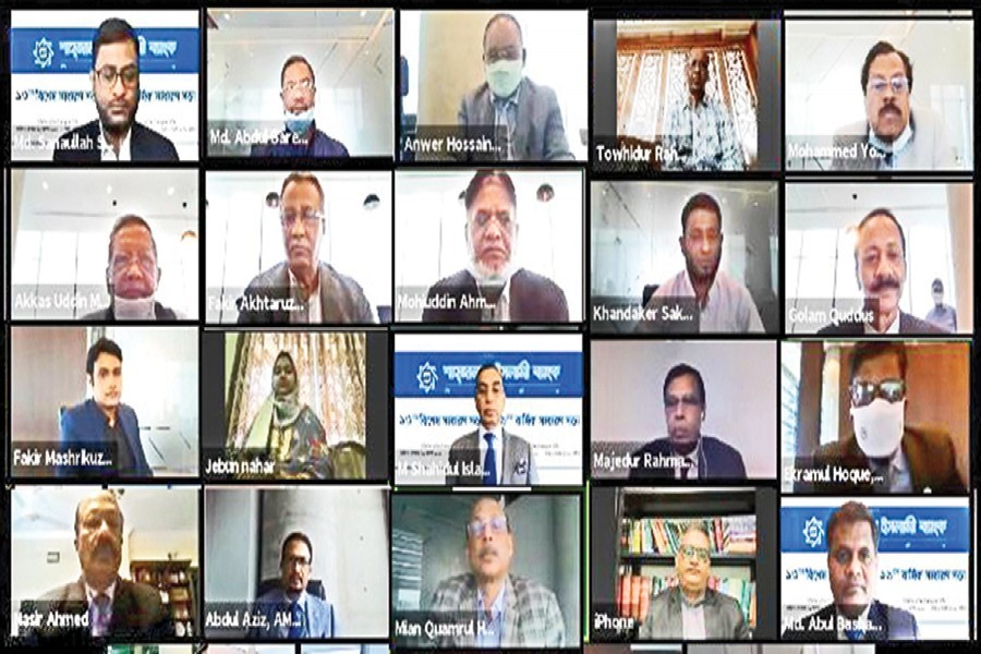 The 13th Extra-Ordinary General Meeting (EGM) and 19th Annual General Meeting (AGM) of Shahjalal Islami Bank Limited were held on Wednesday through a digital platform where Md. Sanaullah Shahid, Chairman of Shahjalal Islami Bank and M. Shahidul Islam, Managing Director & CEO, were present. The AGM approved 10 per cent dividend (5 per cent stock and 5 per cent cash) for the shareholders.