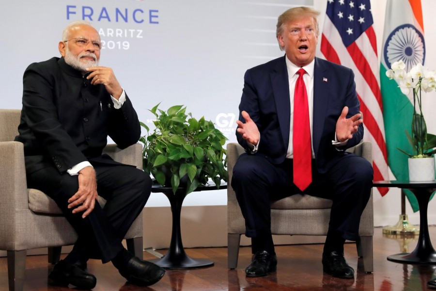 US President Donald Trump speaks as he meets Indian Prime Minister Narendra Modi for bilateral talks during the G7 summit in Biarritz, France, August 26, 2019 — Reuters/Files