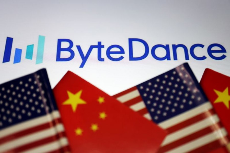 Flags of China and the United States are seen near a ByteDance logo in this illustration picture taken on September 18, 2020 — Reuters photo