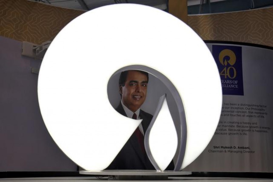 The logo of Reliance Industries is pictured in a stall at the Vibrant Gujarat Global Trade Show at Gandhinagar, India on January 17, 2019 — Reuters/Files