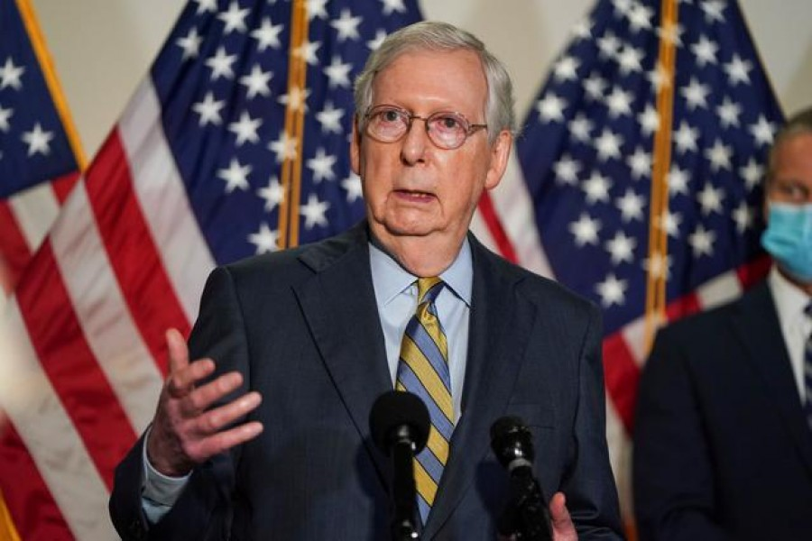 Senate Majority Leader Mitch McConnell (R-KY) speaks to the media after the Republican policy luncheon on Capitol Hill in Washington, US, September 22, 2020 — Reuters/Files