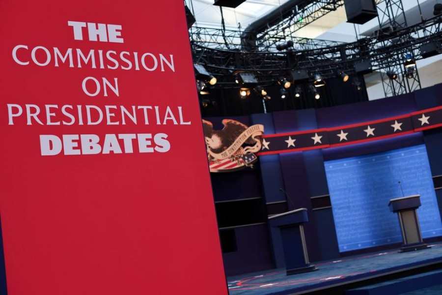 The stage awaits the first presidential debate between US President Donald Trump and Democratic US presidential nominee and former Vice President Joe Biden on the campus of the Cleveland Clinic in Cleveland, Ohio, US, September 28, 2020 — Reuters