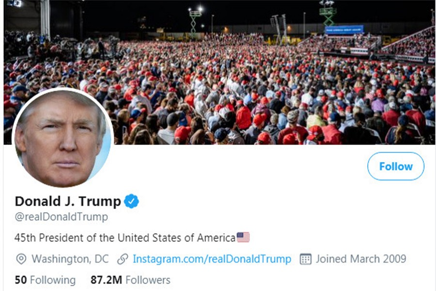 The masthead of US President Donald Trump's @realDonaldTrump Twitter account is seen on October 12, 2020