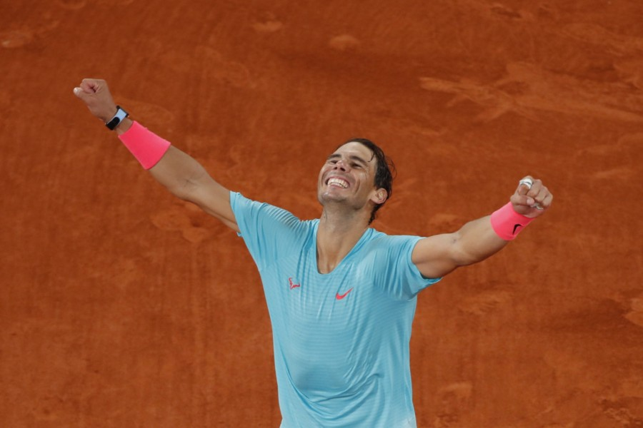 Spain's Rafael Nadal celebrates after winning the French Open final against Serbia's Novak Djokovic on October 11, 2020 — Reuters photo