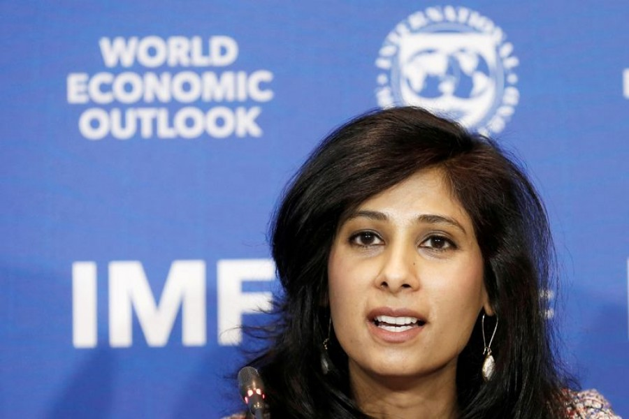 Gita Gopinath, Economic Counsellor and Director of the Research Department at the International Monetary Fund (IMF), speaks during a news conference in Santiago, Chile, July 23, 2019. REUTERS/Rodrigo Garrido/File Photo
