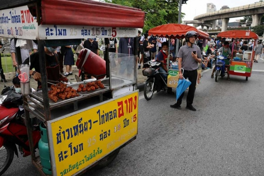 Food trucks are seen ahead of an anti-government protest in Bangkok, Thailand Oct 21, 2020. REUTERS