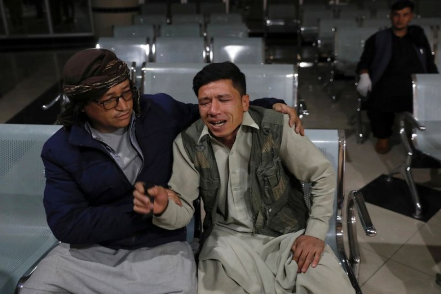 An Afghan man who lost his brother mourns at a hospital after a suicide bombing in Kabul, Afghanistan on October 24, 2020 — Reuters photo