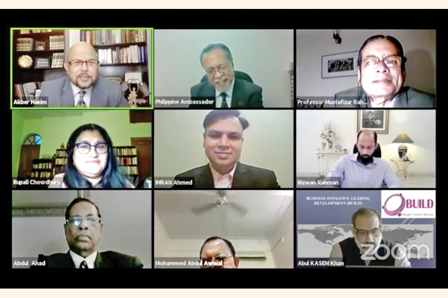 Participants of a webinar titled 'Importance of Regional Cooperation in Post-Covid Recovery' organised by the Bangladesh Philippines Chamber of Commerce & Industry on Saturday