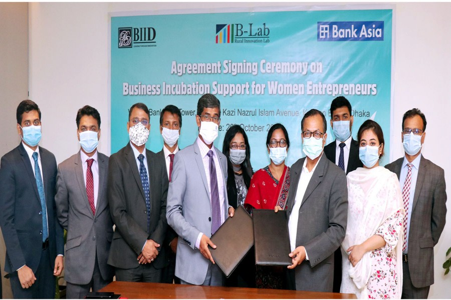 Bank Asia signs agreement with BIID for fostering business incubation for women entrepreneurs