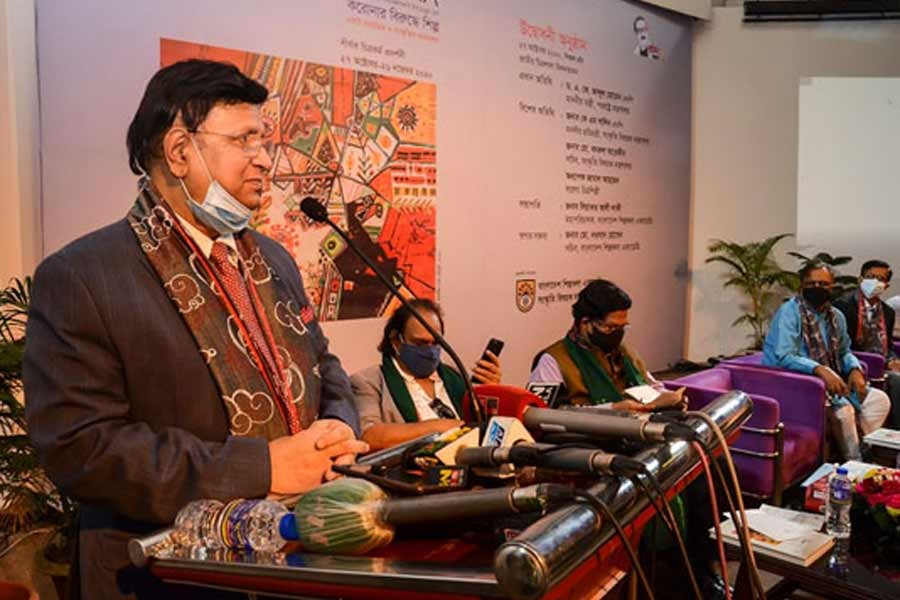 Foreign Minister AK Abdul Momen addressing the inaugural function of a month-long art exhibition titled 'Art Against Corona' at Bangladesh Shilpakala Academy in the capital on Tuesday. –BSS Photo