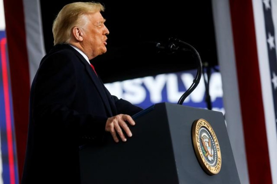 US President Donald Trump speaks during a campaign event, in Allentown, Pennsylvania, US, October 26, 2020. REUTERS/Leah Millis