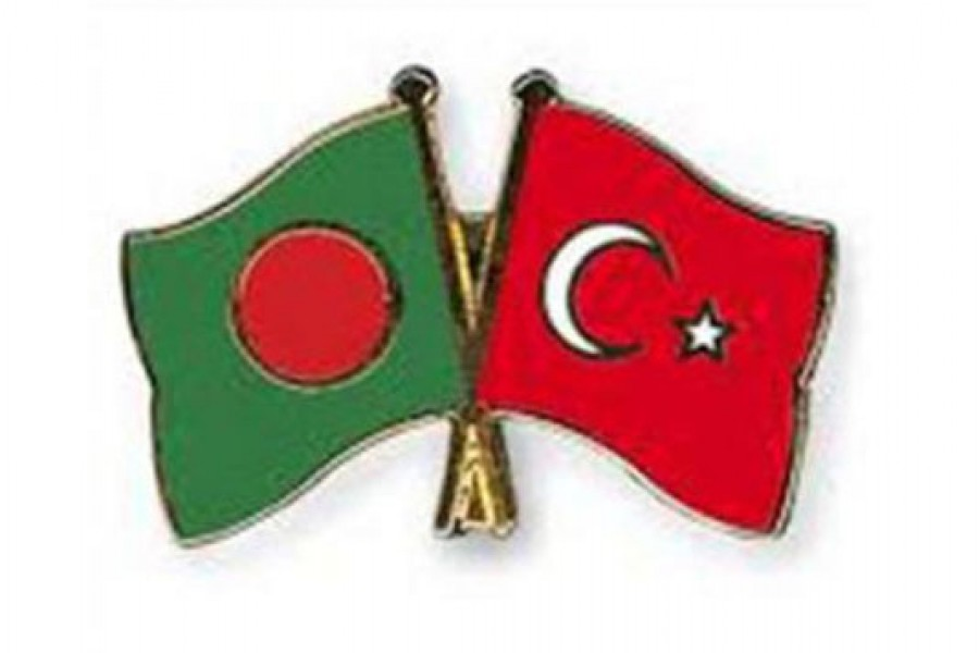 Flags of Bangladesh and Turkey are seen cross-pinned in this photo symbolising friendship between the two nations