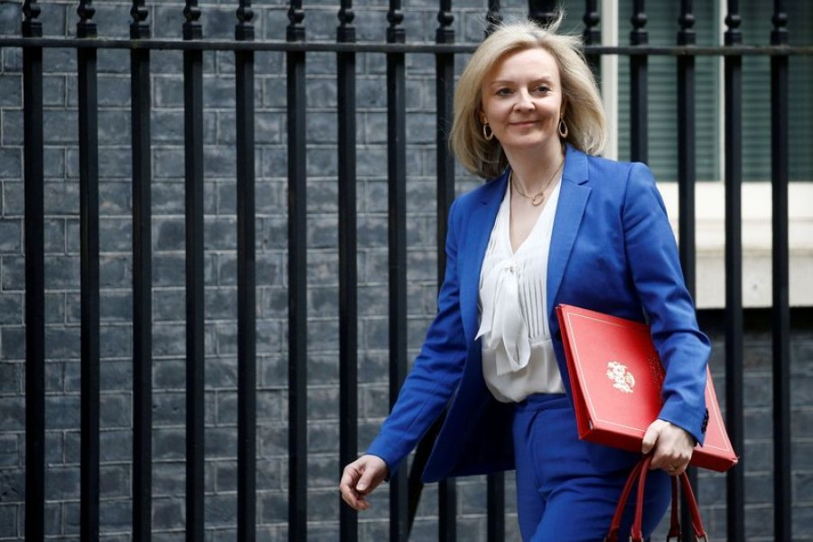 Britain's Secretary of State of International Trade and Minister for Women and Equalities Liz Truss is seen outside Downing Street, as the spread of the coronavirus disease (Covid-19) continues, in London, Britain March 17, 2020 — Reuters/Files