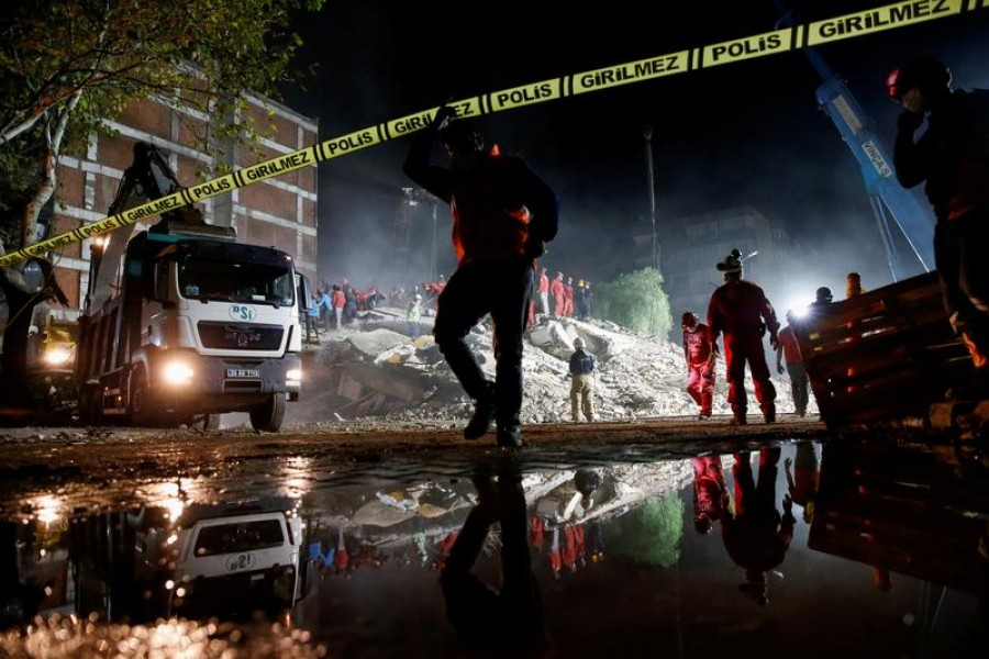 Rescue operations take place on a site secured by the police after an earthquake struck the Aegean Sea, in the coastal province of Izmir, Turkey on November 1, 2020 — Reuters photo