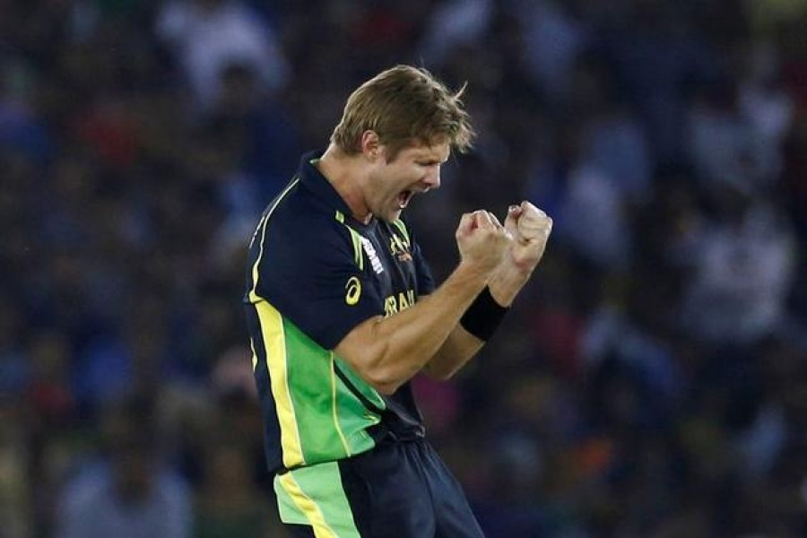 Australia's Shane Watson celebrates taking the wicket of Suresh Raina in Twenty20 clash against India, in Mohali, India on March 27, 2016 — Reuters/Files