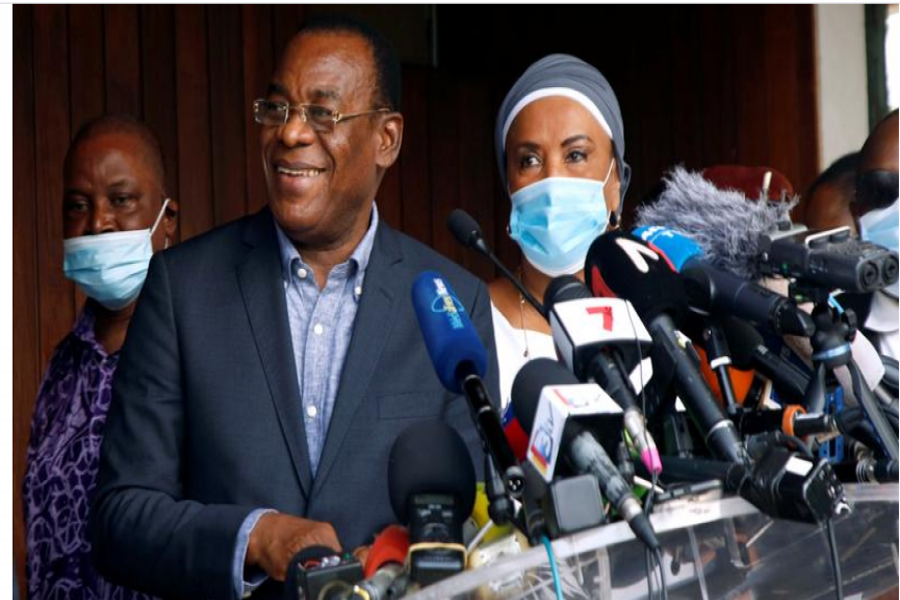 FILE PHOTO: Pascal Affi N'Guessan, president of Ivorian Popular Front (FPI) and presidential candidate, shares a laugh during an opposition coalition news conference after the election in Abidjan, Ivory Coast November 1, 2020. REUTER/Luc Gnago