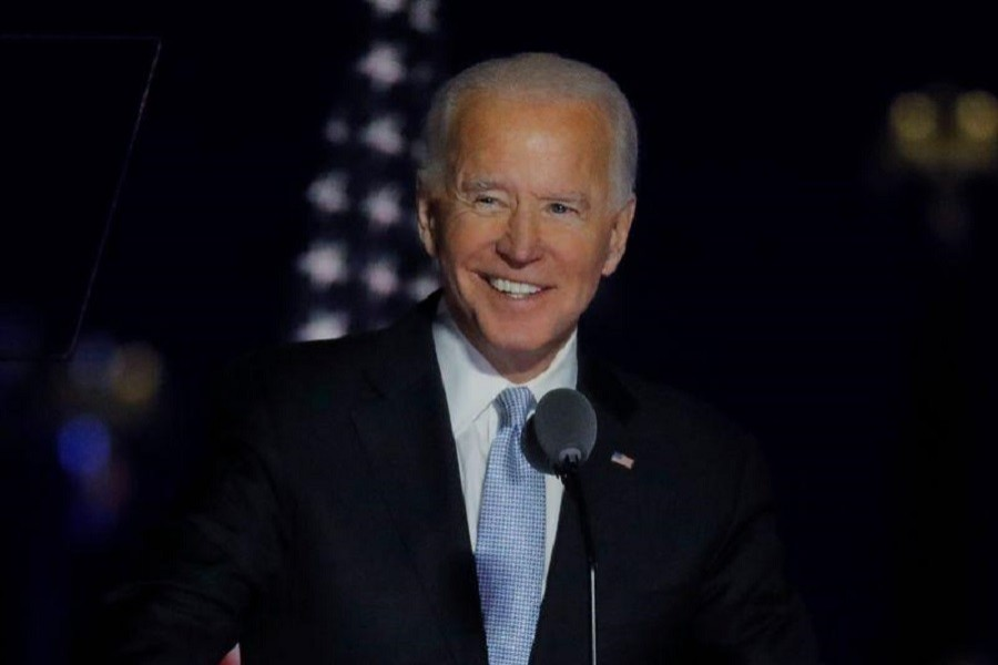 Democratic 2020 US presidential nominee Joe Biden speaks at his election rally, after the news media announced that Biden has won the 2020 US presidential election over President Donald Trump, in Wilmington, Delaware, US, November 7, 2020 — Reuters