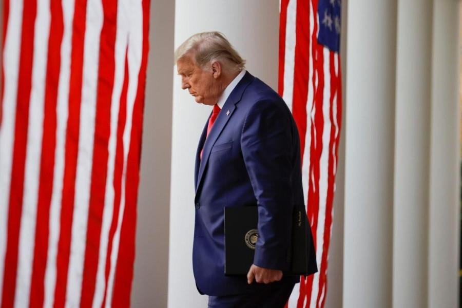 "US President Donald Trump walks down the West Wing colonnade from the Oval Office to the Rose Garden to deliver an update on the so-called ""Operation Warp Speed"" programme at the White House in Washington, US on November 13, 2020 — Reuters photo"
