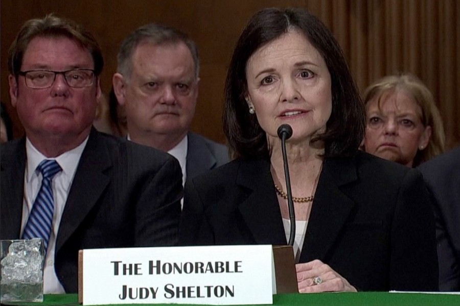 Judy Shelton, a former economic adviser to Trump's 2016 presidential campaign, seen speaking in this undated Reuters photo