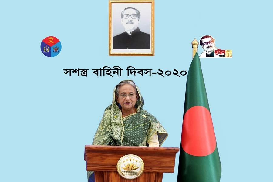 Prime Minister Sheikh Hasina delivering her televised address on the occasion of the Armed Forces Day 2020 on Saturday –PID Photo