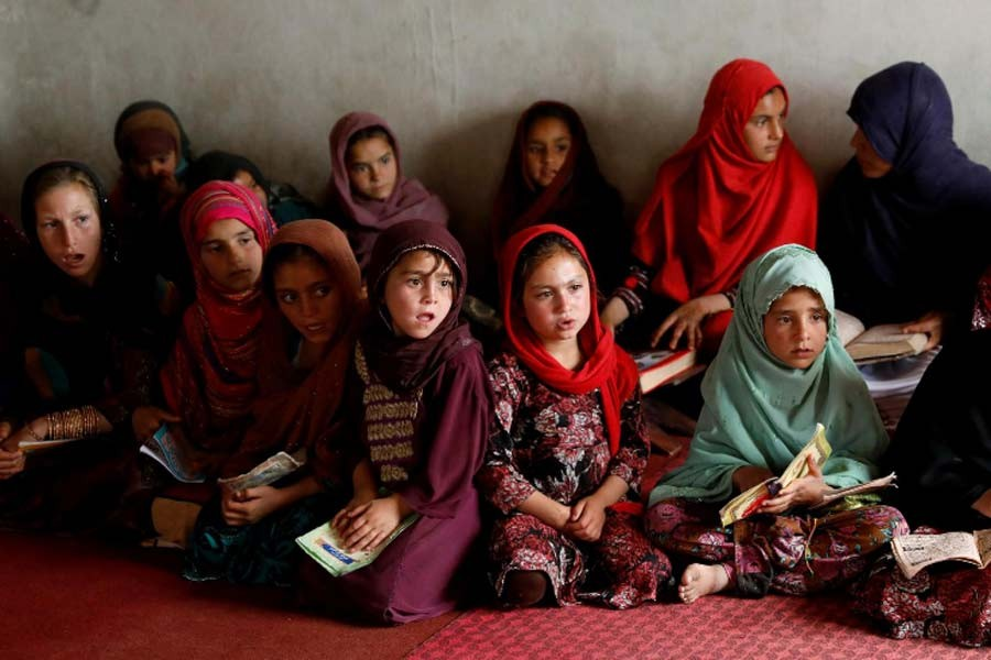 Internally displaced Afghan girls reading the Quran at a mosque, amidst the spread of the coronavirus disease (COVID-19) during the holy fasting month of Ramadan this year in Kabul –Reuters file photo