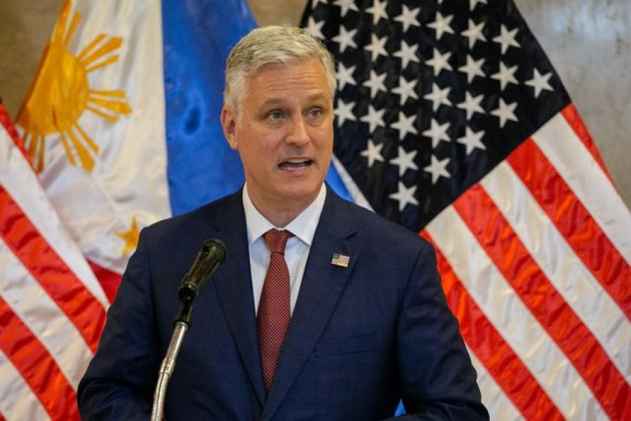 US National Security Advisor Robert O'Brien speaks during the turnover ceremony of defence articles, at the Department of Foreign Affairs in Pasay City, Metro Manila, Philippines, November 23, 2020. REUTERS/Eloisa Lopez