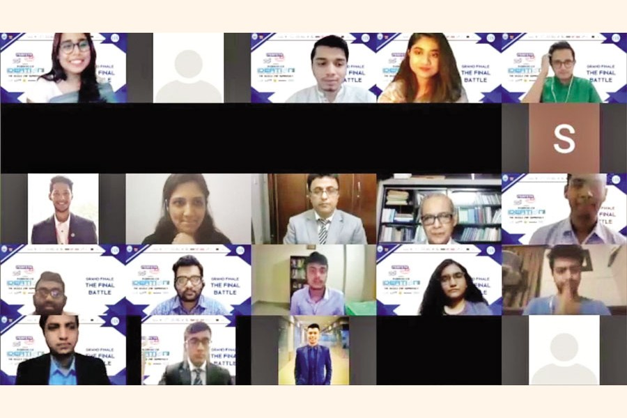 Finalists and judges attending the grand finale of Masters of Ideation 2020 online