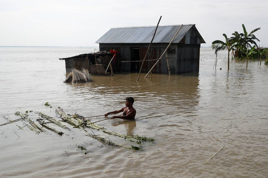 A flood-affected man moves jute plants to process in Jamalpur, Bangladesh, July 18, 2020 — Reuters/Files