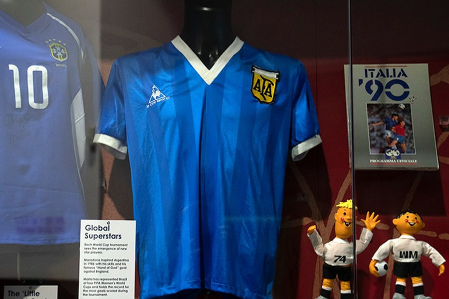 The shirt Diego Maradona wore when he played England in 1986 is currently on display at the National Football Museum in Manchester — AP/Files